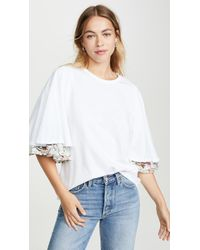 CLU Bell Sleeve Floral Print T-shirt - White