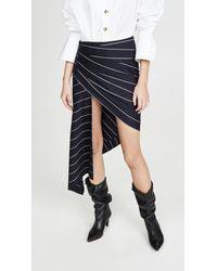 Monse Pinstripe Wrapped Skirt - Blue