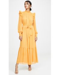 English Factory Swiss Dot Smocked Maxi Dress - Yellow