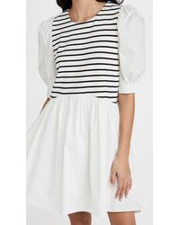 English Factory High Low Stripped Knit Combo Dress - White