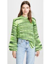 Ganni Balloon-sleeve Melange Sweater - Green