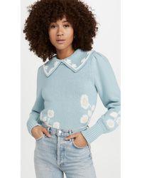 LoveShackFancy Union Collared Pullover - Blue