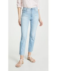 AG Jeans The Isabelle High Rise Straight Crop Jeans - Blue