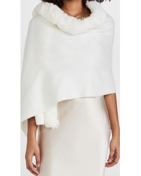 Adrienne Landau Wrap With Faux Fur Trim - Natural