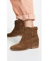e1c2b0c5934b Lyst - Isabel Marant Crisi Suede Concealed Wedge Biker Boots in Brown