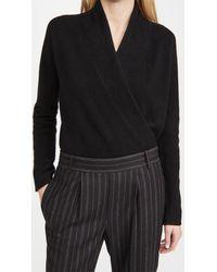 Vince Wrap Front Cashmere Pullover - Black