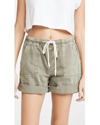 One Teaspoon Vintage Khaki Shabby Bandit Denim Shorts - Natural