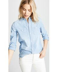 Madewell Chambray Classic Ex Bf Button Down Shirt - Blue