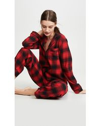 Madewell Flannel Bedtime Pyjama Set In Buffalo Plaid - Red