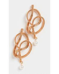 Oscar de la Renta Braided Chain & Pearl Earrings - Metallic