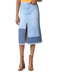 Edition10 - Colorblock Denim Skirt - Lyst