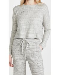 Beyond Yoga Brushed Up Cropped Pullover Sweater - Gray