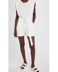 Tibi White Denim Pleated Shorts