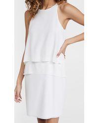 Tibi Solid Silk Layered Dress - White