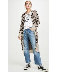 R13 Cashmere Long Leopard Cardigan - Multicolour