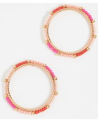 Rebecca Minkoff | Front Facing Beaded Hoop Earrings | Lyst
