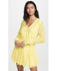 Endless Rose Lace Ruched Dress - Yellow