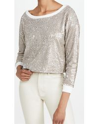 Chaser Sequin Terry Cropped Pullover - Metallic