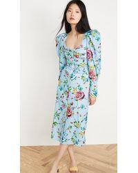 Prabal Gurung Scoop Neck Button Up Dress - Blue