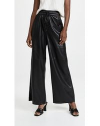 GOOD AMERICAN Leather Wide Leg Trousers - Black