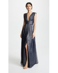 Monique Lhuillier Bridesmaids - Metallic Ruffle Gown With V Neckline - Lyst