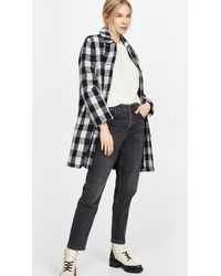 A.P.C. Checked Coat - Blue