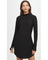 Chaser Cozy Knit Long Sleeve Raglan Turtleneck Mini Dress - Black