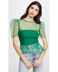 Endless Rose Puff Sleeve Sheer Top - Green