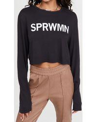 SPRWMN Logo Long Sleeve Tee - Black