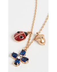 Tory Burch Buddy Clover Charm Necklace - Multicolour
