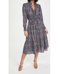 La Vie Rebecca Taylor Long Sleeve Long Lilou Ruffle Dress - Blue
