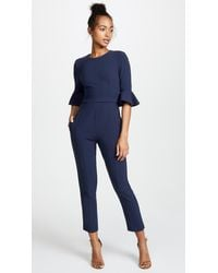 Black Halo Brooklyn Cropped Jumpsuit - Blue