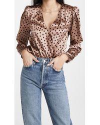 L'Agence Brenda Puff Sleeve Bodysuit - Multicolour