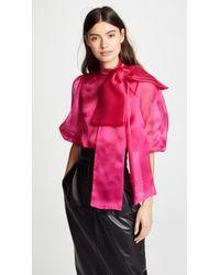 Costarellos - Oversized Bow Puff Half Sleeve Blouse - Lyst