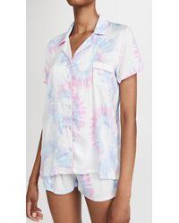 Splendid Short Sleeve Notch Collar Pj Set - Multicolour