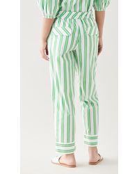 Ganni Stripe Cotton Trousers - Green