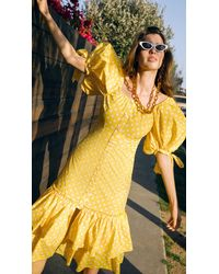 Caroline Constas Nella Midi Dress - Yellow