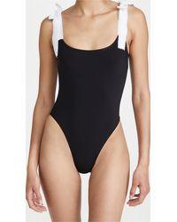 Karla Colletto Tie Shoulder One Piece Swimsuit - Black