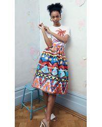 Stella Jean Popeline Skirt With Habiba Print - Multicolour
