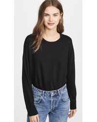 Sundry High Low Crew Sweatshirt - Black