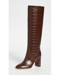 Loeffler Randall Goldy Croc-effect Leather Knee Boots - Brown