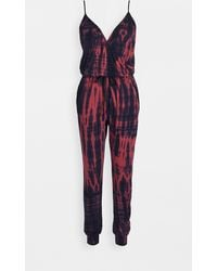 Sundry Wrap Front Spaghetti Strap Jumpsuit - Red