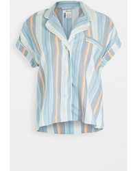 Madewell Bedtime Pajama Top In Solano Stripe: Colorblock Piping Edition - Blue
