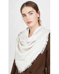 Tory Burch Logo Jacquard Traveller Scarf - White