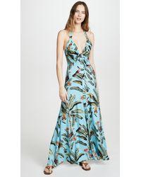 PATBO Tropical Print Halterneck Maxi Dress - Blue