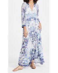 Camilla Long Gathered Panel Dress - Blue