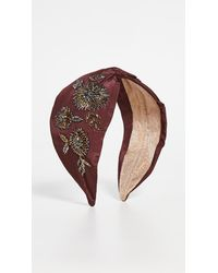 NAMJOSH Wine Gold Floral Embellisehd Headband - Multicolour