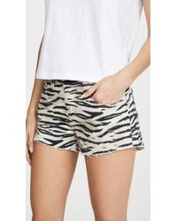 L'Agence Audrey Zebra Frayed Shorts - Multicolour