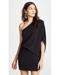 Halston One Shoulder Dress - Black