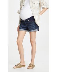 7 For All Mankind Maternity Relaxed Mid Roll Shorts - Blue